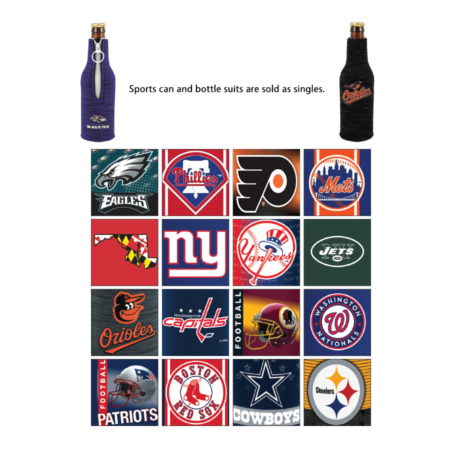 Product: Sports themed neoprene 12 oz. bottle suits with zippers, item # BSUIT-SP