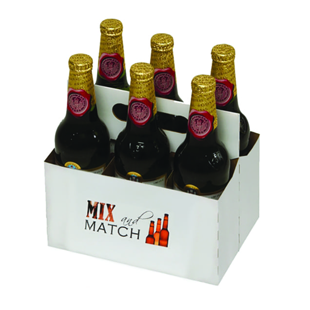 Product: Promotional 6 Pack 16 Oz Bottle Cardboard Carriers, item # PROMO-CBC-16OZ