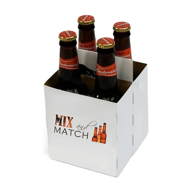 Product: promotional white 4 pack bottle carriers, item # PROMO-CBC-4