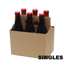 Product: single kraft cardboard bottle carrier, item # CBC-6KRAFT-SINGLE
