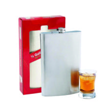 Product: 64 oz. metal flask, ITEM # FLASK64