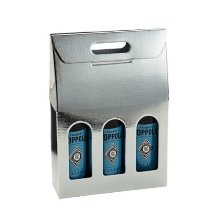 Product: Metallic Silver 3 bottle carrier ; ITEM # IT-BC3ARG