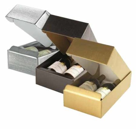 Linen 2 bottle gift boxes, available in Gold, Black, and Metallic Silver