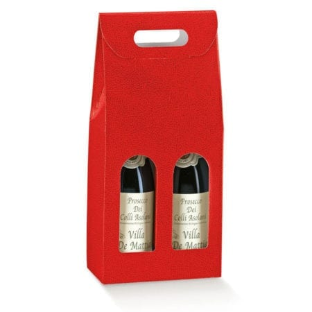 Red Pebbled Textured 2 bottle carrier