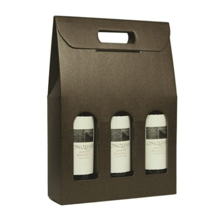 Chocolate Pebbled textured 3 bottle carriers