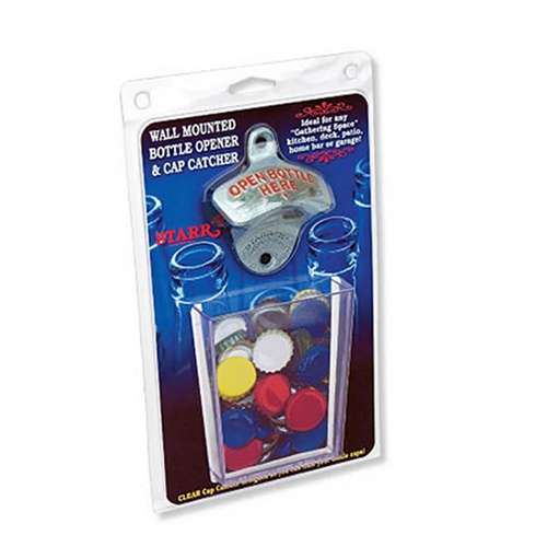 Product: wall mounted metal bottle opener with cap catcher, item # OBHOX-CUP
