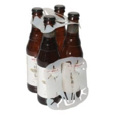 Product: clear plastic handle 4 bottle carriers, item # BOBC-PAK4