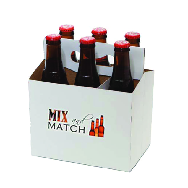 Product: promotional white 6 pack bottle carriers, item # PROMO-CBC-100