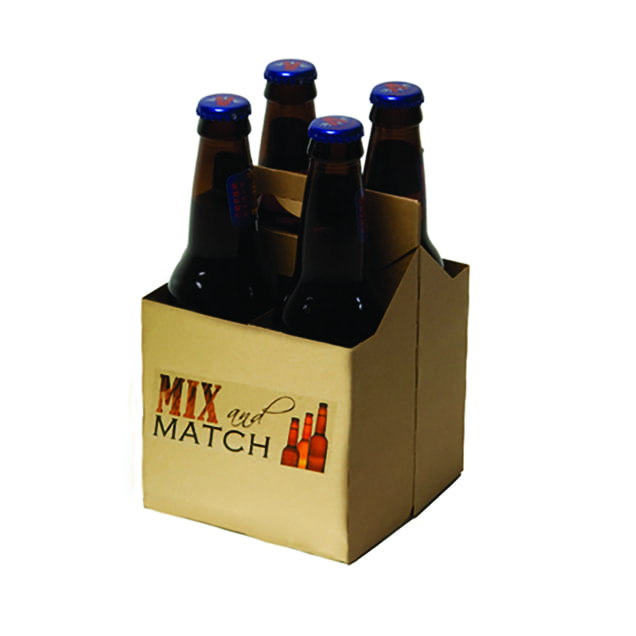 Product: Promotional Kraft 4 Pack Bottle carriers, item # PROMO-CBC-4KRAFT