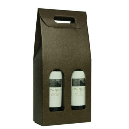 Product: Chocolate Pebbled Textured 2 bottle carrier ; ITEM # IT-BC2PMA