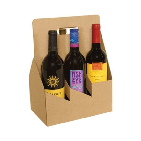 Product: 6 bottle cardboard wine carrier, item # WB6-KRAFT