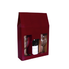 Product: burgundy 3 bottle gift box, item # WB3B-WI