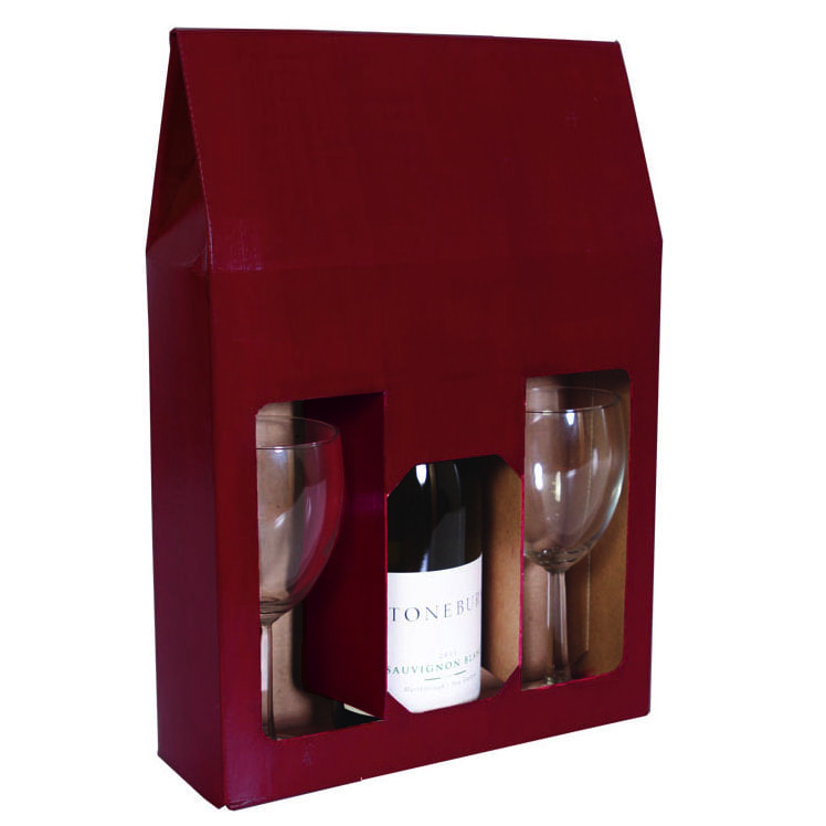 Burgundy 3 Bottle Wine Gift Box For 750 Ml Bottles