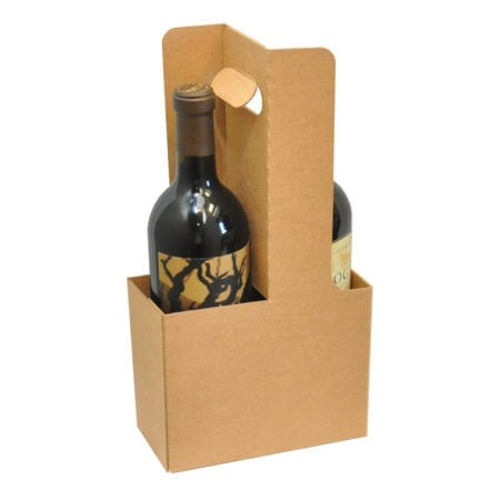 Product: 2 Bottle Cardboard Wine Carrier for 750 ml bottles, item # WB2-KRAFT