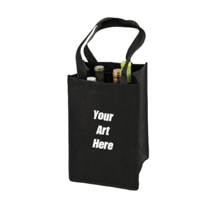 customized reusable 4 bottle wine tote bags