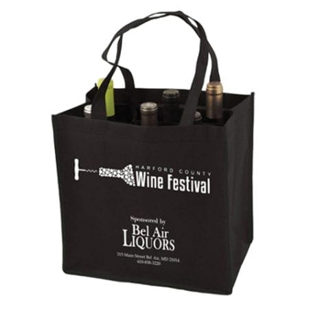 customizable reusable 6 bottle wine tote bags