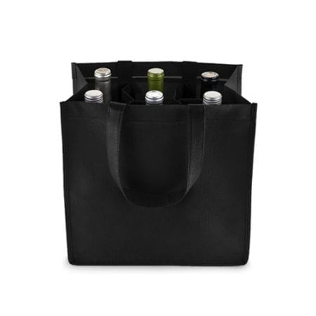 Product: Reusable 6 Bottle Wine Tote Bags, Item # CWT6BGB7BL