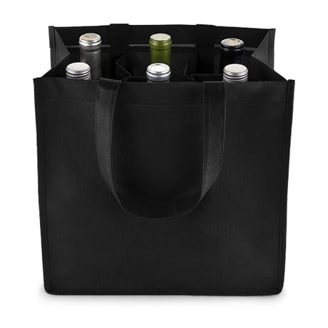Reusable 6 Bottle Wine Tote Bags Unprinted Pak It Products