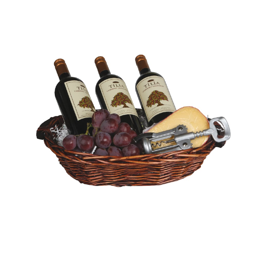 3 Bottle Oval Basket With Wooden Handles
