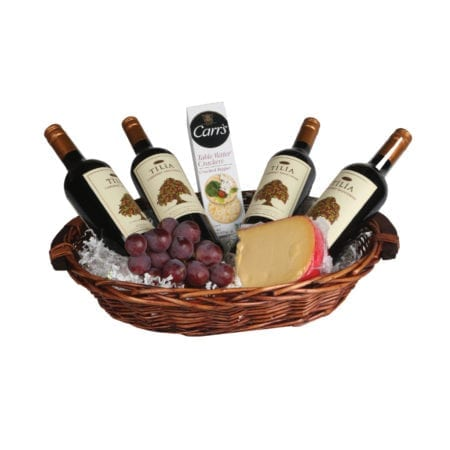 Product: The 4 Bottle oval basket, item #: BASK-HWH16