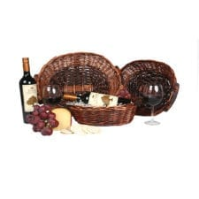 Product: 2 Bottle oval basket, Item # BASK-HWH-12