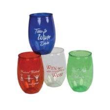 Product: acrylic stemless wine glasses, item # GLASTWINE