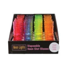 Product: Plastic neon shot glasses, ITEM # SHOT