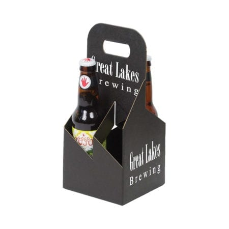 Product: black custom printed 4 pack 12 oz. bottle totes, item # G4B-BLK-CUSTOM