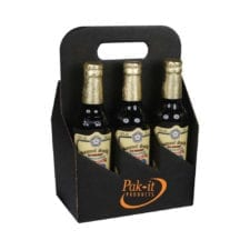 Product: black custom printed 6 pack 12 oz. bottle totes, item # G6B-BLK-CUSTOM