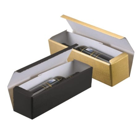 1 bottle horizontal wine box in black and gold