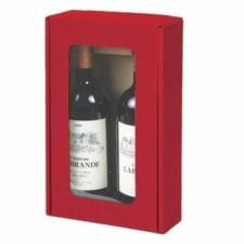 Product: textured rib 2 bottle windowed red wine gift box; ITEM # LT-WB2RED