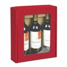 Textured rib 3 bottle windowed red wine gift box
