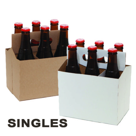Product: SINGLE White & Kraft Cardboard Carrier, item # CBC-100-SINGLE # CBC-6KRAFT-SINGLE
