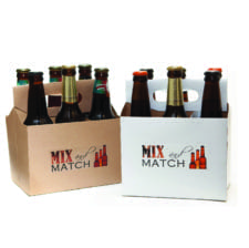 Product: promotional white & kraft 6 pack bottle carriers, item # PROMO-CBC-100