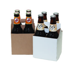 Product: White & Kraft 4 Pack Carriers, item # CBC-4/4KRAFT