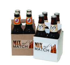 Product: promotional white & kraft 4 pack bottle carriers, item # PROMO-CBC-4/4KRAFT