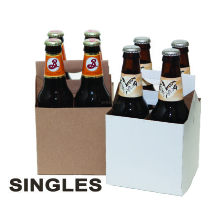 Product: SINGLE White & Kraft Cardboard Carrier, item # CBC-4-SINGLE # CBC-4KRAFT-SINGLE