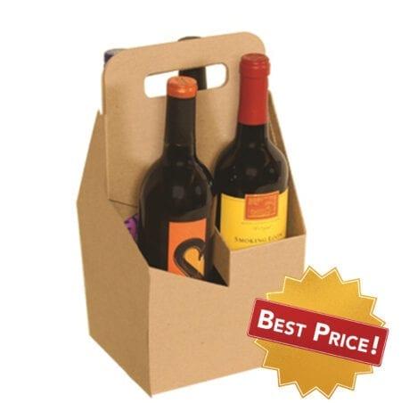 Product: 4 bottle cardboard wine carrier, item # WB4-KRAFT
