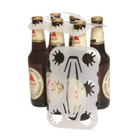 Product: clear plastic handle 6 bottle carriers, item # BOBC-626