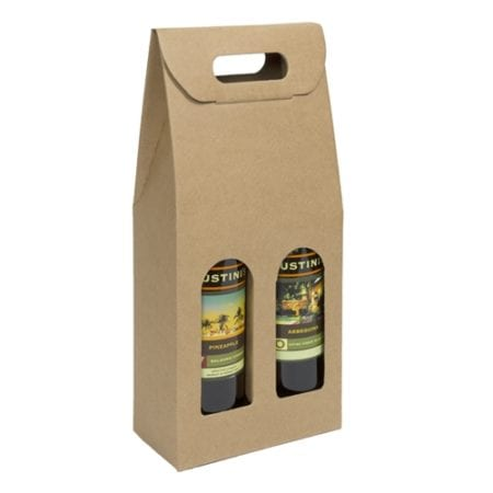 Product: Kraft smooth finish 2 bottle carriers; ITEM # IT-BC2NAT