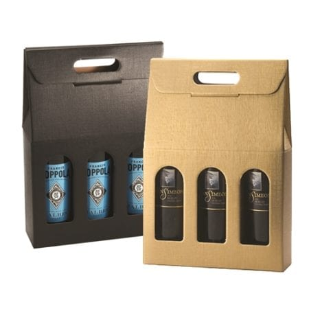 Matte Linen 3 bottle carriers in Black and Gold