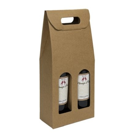 Product: Smooth Finish Kraft 2 Bottle Carrier; ITEM # IT-OC2GNAT