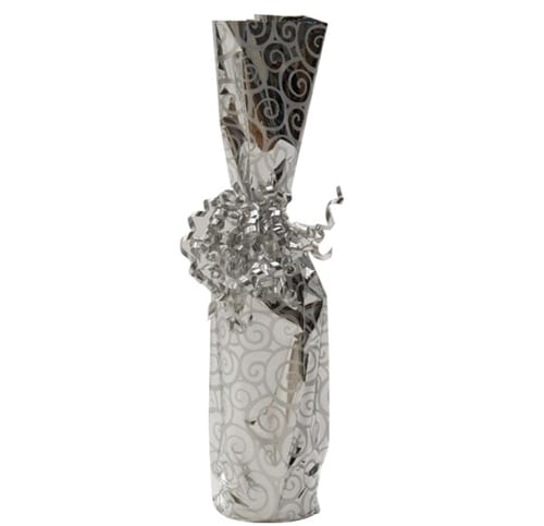 Product; Silver swirl Mylar bottle gift bag, item # MB7
