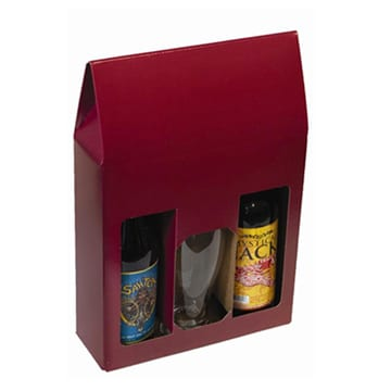 Product: Burgundy 3 Bottle Beer Display Gift Box, item # WB3B-BR