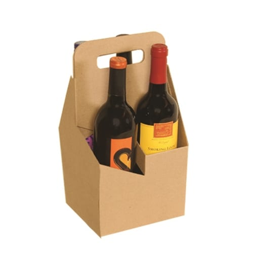 Product: 4 bottle cardboard wine carrier, item # WB4-KRAFT