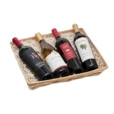 Product: 4 Bottle Flat Tray Basket , Item # BASK-4BT