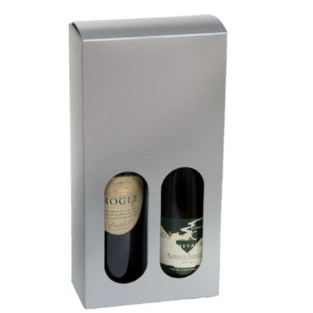 Product: Metallic Silver 2 Bottle Gift Box for 750 ml bottles, item # WB2B